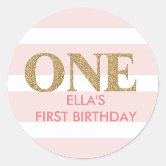 Glitter pink first birthday stickers