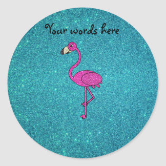 Glitter pink flamingo turquoise glitter classic round sticker