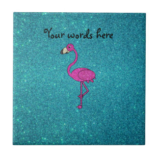 Glitter pink flamingo turquoise glitter tile
