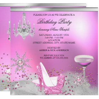 Glitter Pink High Heel Shoes Champagne Party 2 Card