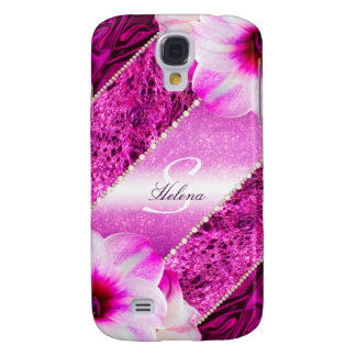 Glitter Pink Monogram Samsung Galaxy S4 Covers