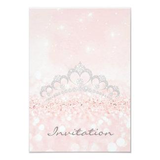 Glitter Pink Rose Pastel VIP Diamond Tiara Glitter Card