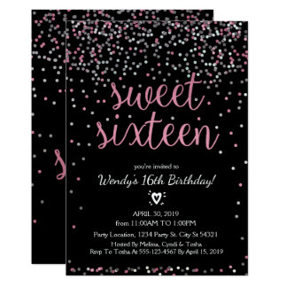 Glitter Pink & Silver Sweet 16 Birthday Invitation