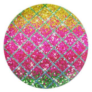 Glitter Pink Snakeskin Party Plates