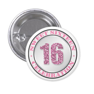 Glitter Pink Sweet 16 Celebration Buttons