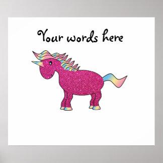 Glitter pink unicorn poster