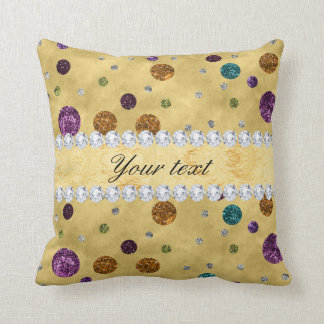 Glitter Polka Dots and Diamonds Throw Pillow