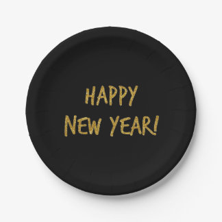 Glitter Print New Year's Eve Paper Plates