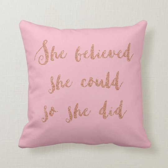 Glitter print quote cushion pink and rose gold