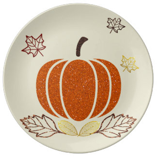 Glitter Pumpkin Decorative Plate Porcelain Plate