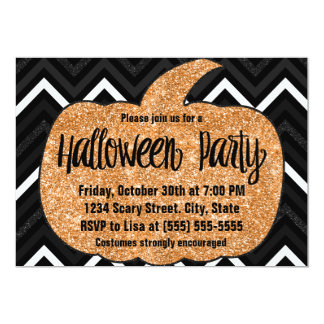 Glitter Pumpkin Halloween Party Invitation