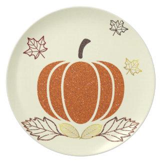 Glitter Pumpkin Plate