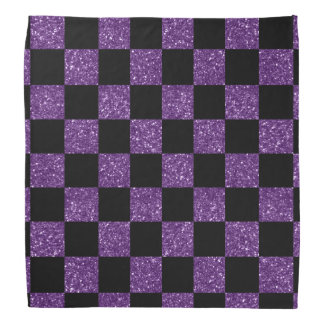 Glitter purple and black checkered pattern bandanas