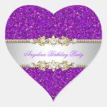Glitter Purple Birthday Party Gold Jewel Diamond Heart Sticker