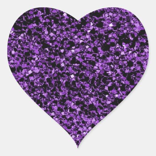 Glitter purple heart sticker | Zazzle