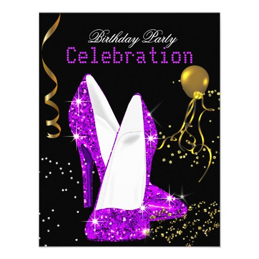 Glitter Purple Magenta Gold Birthday Celebration Personalized Announcement