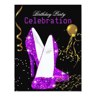 Glitter Purple Magenta Gold Birthday Celebration 4.25x5.5 Paper Invitation Card