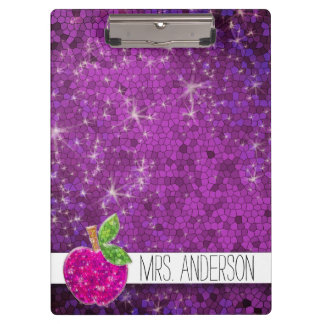 Glitter Purple Pink Teachers Apple Classroom Name Clipboard