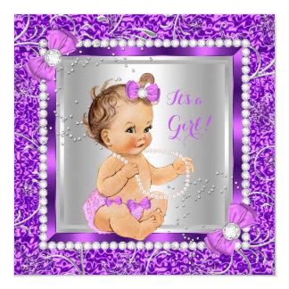 Glitter Purple Silver Baby Shower Girl Brunette Lt 13 Cm X 13 Cm Square Invitation Card