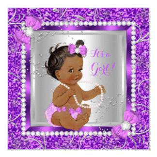 Glitter Purple Silver Baby Shower Girl Ethnic 13 Cm X 13 Cm Square Invitation Card