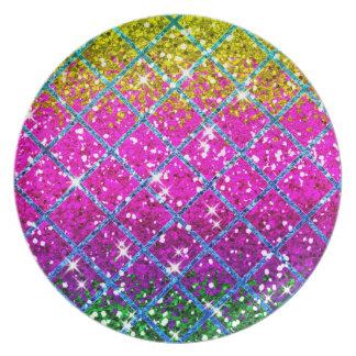 Glitter Purple Snakeskin Dinner Plate