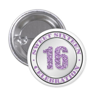 Glitter Purple Sweet 16 Celebration Buttons