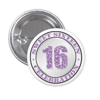 Glitter Purple Sweet 16 Celebration Buttons