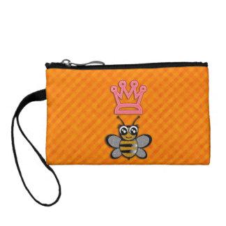 Glitter Queen Bee on Orange flannel background Coin Purse