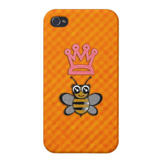 Glitter Queen Bee on Orange flannel background Cover For iPhone 4
