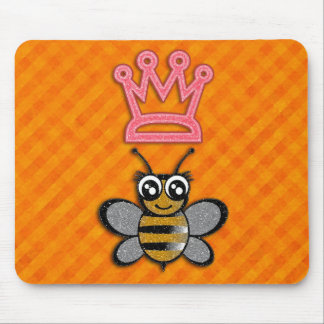 Glitter Queen Bee on Orange flannel background Mouse Mat