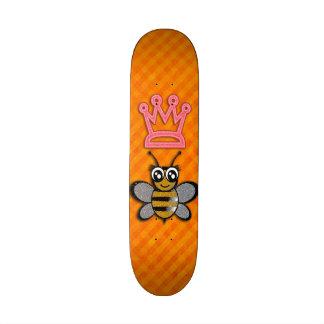 Glitter Queen Bee on Orange flannel background Custom Skate Board