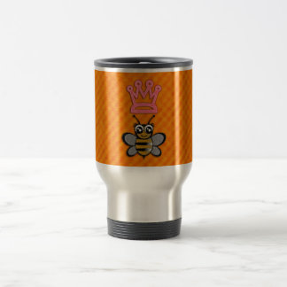 Glitter Queen Bee on Orange flannel background Travel Mug