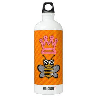Glitter Queen Bee on Orange flannel background Water Bottle