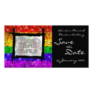 Glitter Rainbow Flag Marriage Equality Gay Pride Photo Cards