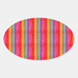 Glitter Rainbow gradient Oval Sticker