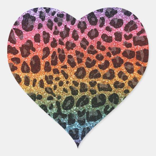 Glitter rainbow leopard print heart sticker