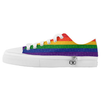 Glitter Rainbow Pride Flag Printed Shoes