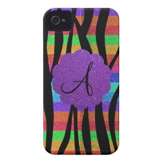 Glitter rainbow zebra stripes monograms Case-Mate blackberry case