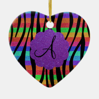 Glitter rainbow zebra stripes monograms christmas ornament