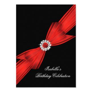 Glitter Red Diamond Bow Black Birthday Party 2 11 Cm X 16 Cm Invitation Card