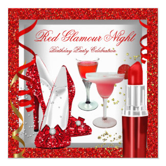 Glitter Red Glamour Night Cocktails Party Card