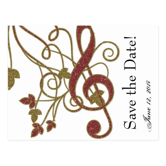 Glitter Red Gold Music Save the Date Postcard