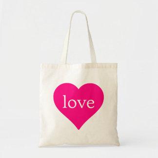 Glitter Red Heart Love Wedding Budget Tote Bag