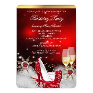 Glitter Red High Heel Shoes Silver Gold Champagne 13 Cm X 18 Cm Invitation Card