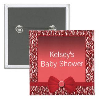 Glitter Red Zebra Print Baby Shower 15 Cm Square Badge