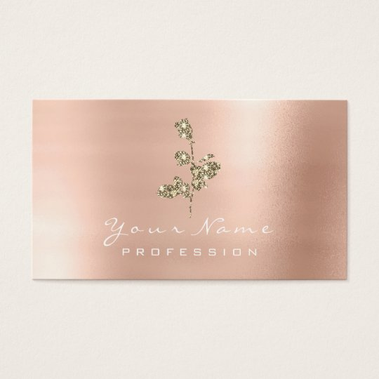 Glitter Rose Flower Gold Champagne Faux Business Card