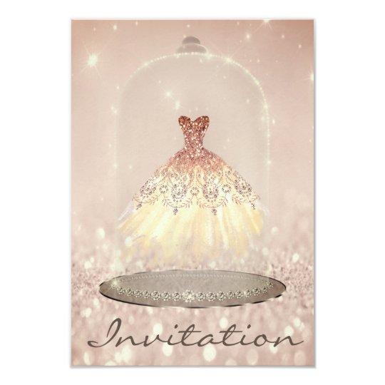 Glitter Rose Gold Diamond Dress Sweet 16th Card