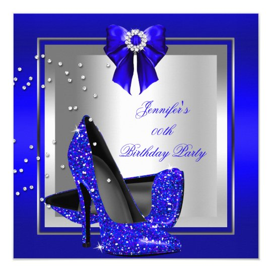 Glitter Royal Blue High Heel Silver Birthday Party