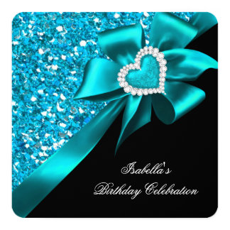 Glitter Royal Teal Blue Heart Bow Black Party 13 Cm X 13 Cm Square Invitation Card