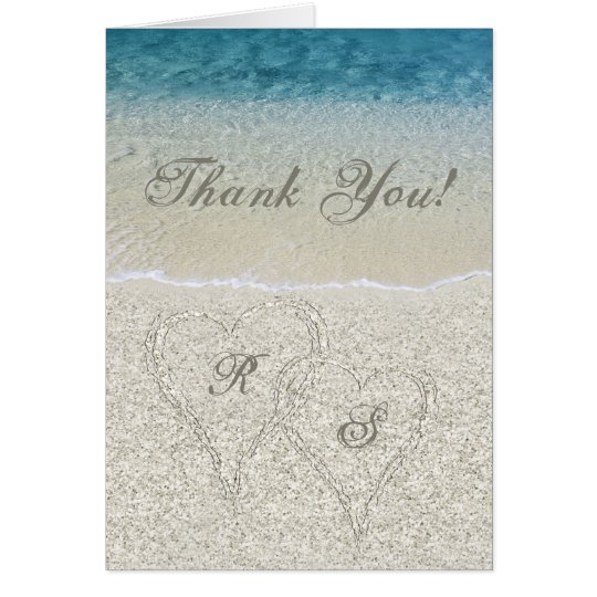 Glitter Sandy Beach Wedding Thank You Card